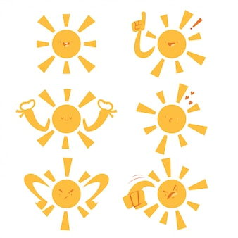 Funny sun with different emotions and expressions