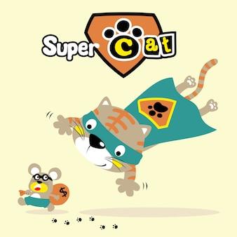 Funny super hero cartoon vector
