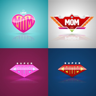 Funny super mom logo set