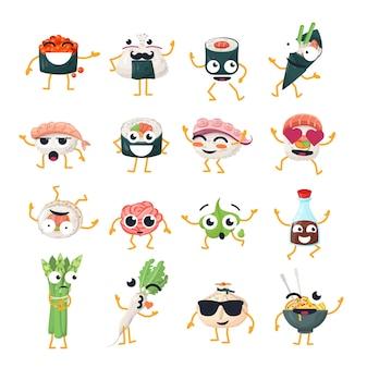 재미있는 스시와 냄비 - 벡터 격리 만화 이모티콘. 멋진 캐릭터가 있는 귀여운 이모티콘 세트. 흰색 바탕에 화나고, 놀라고, 행복하고, 미치고, 웃고, 슬픈 아시아 음식 모음