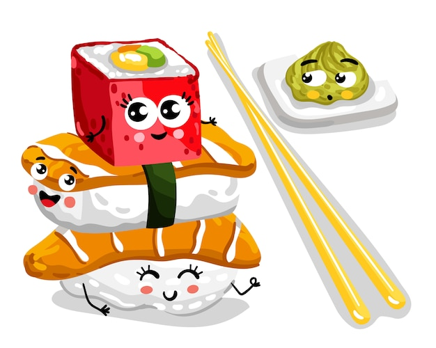 Funny sushi and sashimi set cartoon character