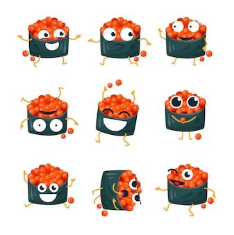 빨간 캐비아가 있는 재미있는 스시 - 벡터 격리 만화 이모티콘. 멋진 캐릭터가 있는 귀여운 이모티콘 세트. 흰색 바탕에 화나고, 놀라고, 행복하고, 미치고, 웃고, 슬픈 일본 음식 모음
