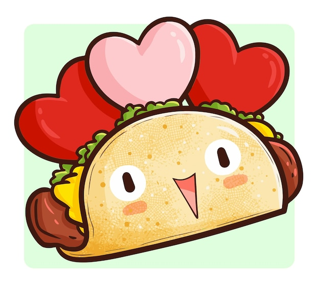 Funny and sweet valentine taco in kawaii doodle style