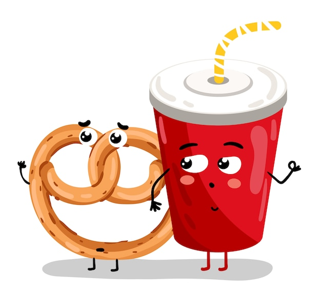 Funny take away glass and bagel cartoon character