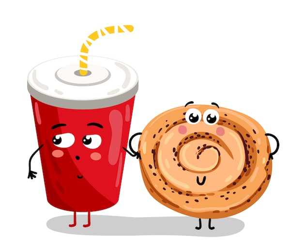 Funny take away glass and cookie cartoon character