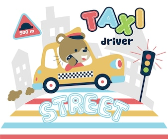 Funny taxi driver cartoon with smartphone