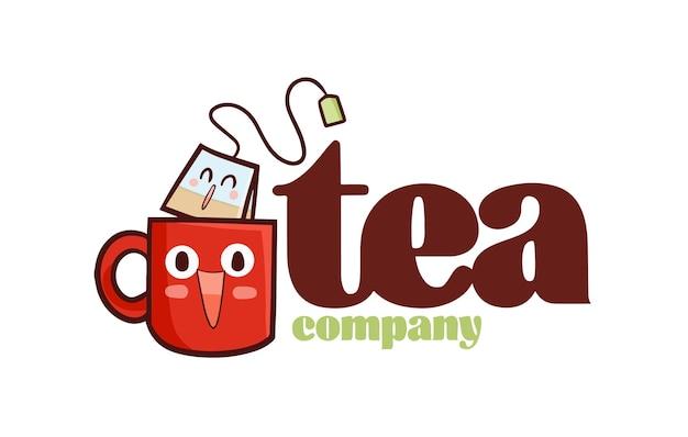 Funny tea company logo template