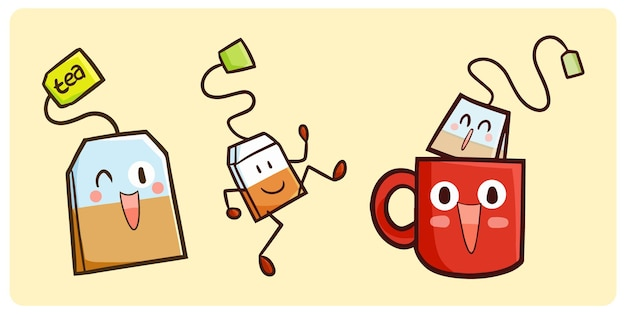 Funny teabag collection in kawaii doodle style