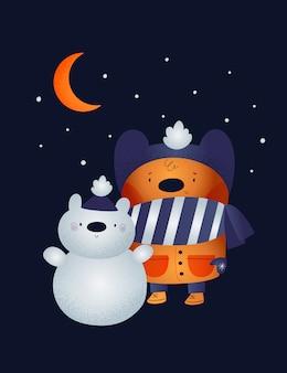 Забавный плюшевый мишка с белым медведем
