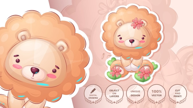 Funny teddy lion - cute sticker. vector eps 10