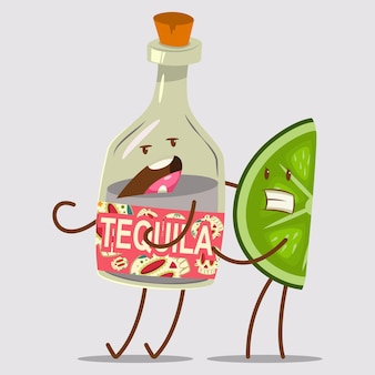 面白いテキーラとライムのキャラクター。かわいいメキシコの食べ物や飲み物の漫画イラストを背景に分離しました。