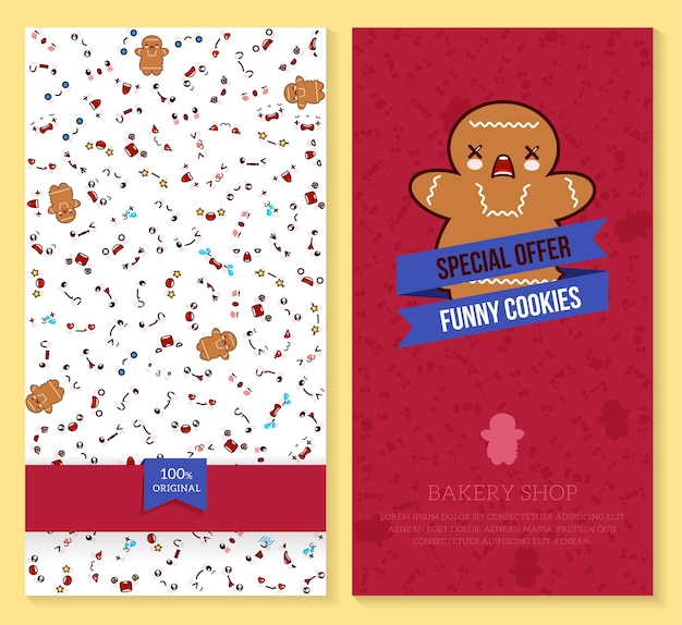 Funny tickets design with kawaii emotion pattern and sweet cookie
