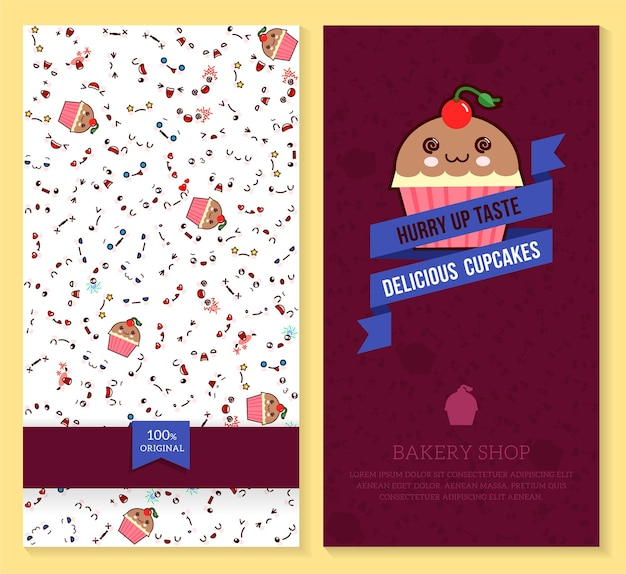 Funny tickets design with kawaii emotion pattern and sweet cupcakes