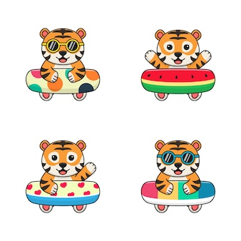 Funny tiger with swim ring