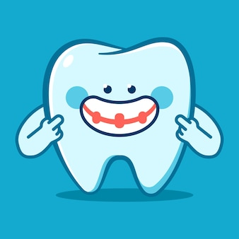 Funny tooth in braces vector cartoon character isolated on background.
