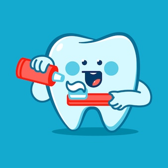 Funny tooth with toothbrush and paste vector cartoon character isolated on background.