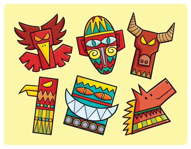 Funny totem pole collection in simple cartoon style