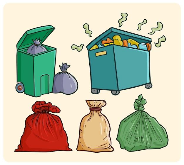 낙서 스타일의 재미있는 쓰레기 수거