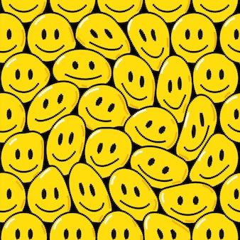 面白いトリッピー笑顔メルトフェイスピクセルアートアイコン。ベクトル落書き漫画グラフィックイラストデザイン。トリッピーな笑顔、サイケデリック、テクノピクセルアート、ポスター、tシャツのコンセプトのための8ビット、16ビットスタイルのプリント