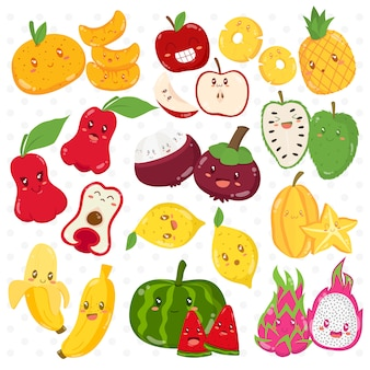 Funny tropical fruits cartoon characters set