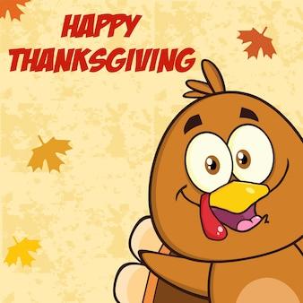 Funny turkey bird cartoon character looking from a corner.