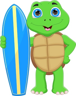 Funny turtle holding surfboard on white background