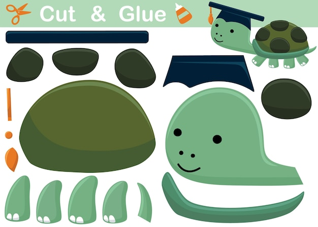 Funny turtle wearing graduation hat. education paper game for children. cutout and gluing.   cartoon illustration