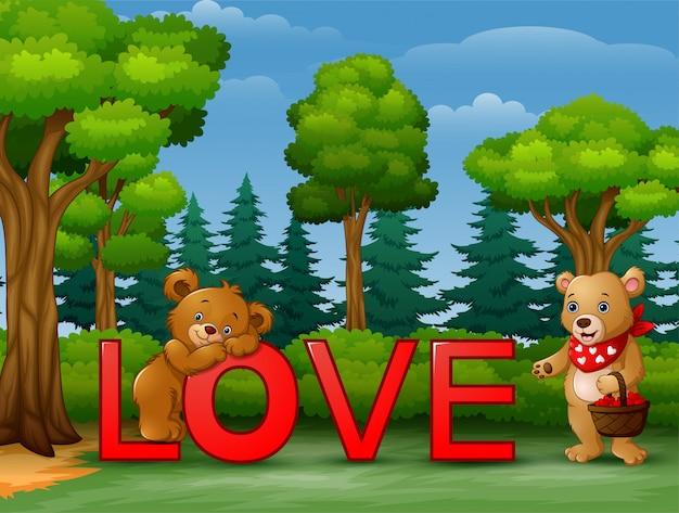 Смешные два медведя на красном слове любовь на природе