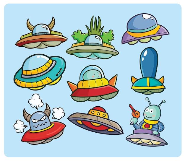 귀여운 만화 스타일의 재미있는 ufo 컬렉션