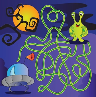 Funny ufo monster maze for kids - vector illustration