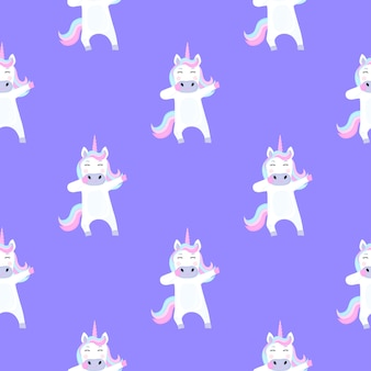 Funny unicorn dabbing. seamless pattern