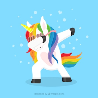 Funny unicorn doing dabbing