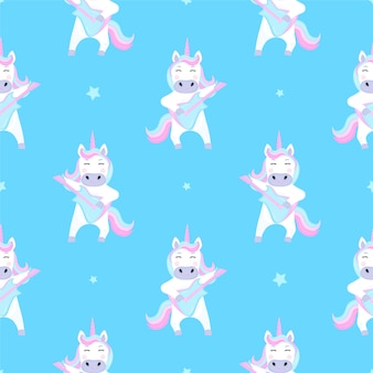 Funny unicorn plays guitar. seamless pattern for the decoration of the nursery for a girl or boy, for the design of kids clothing, things