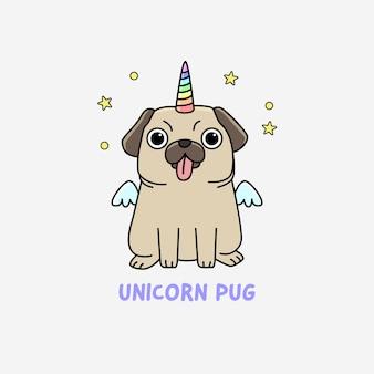 Funny unicorn pug