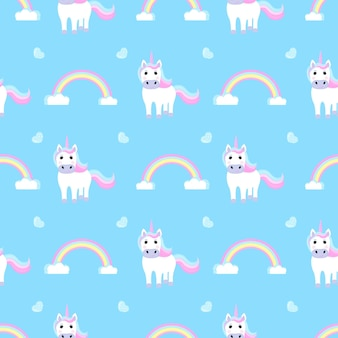 Funny unicorn and rainbow. seamless pattern for the decoration of the nursery for a girl or boy, for the design of kids clothing, things.