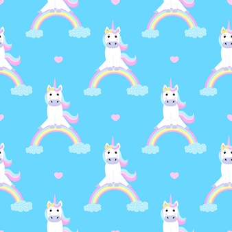 Funny unicorn sitting on a rainbow. seamless pattern for the decoration of the nursery for a girl or boy, for the design of kids clothing, things