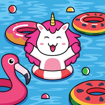 Funny unicorns are swimming