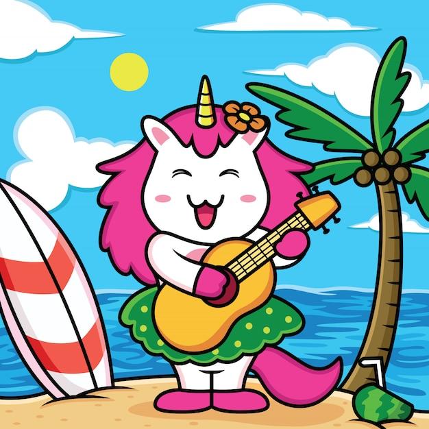 Смешные единороги играют на гитаре на пляже