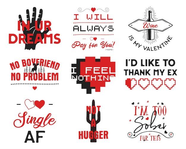 Funny valentines day typography logos emblems set.
