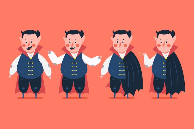 Funny vampire   characters set  on background.