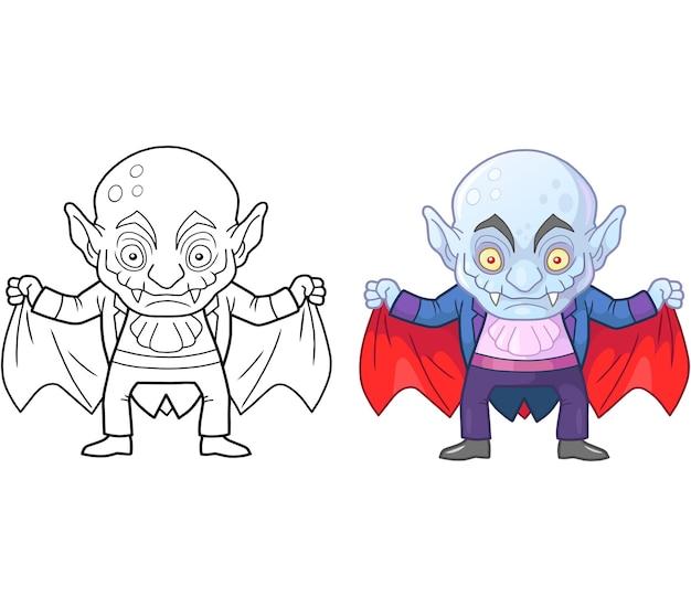 Funny vampire colouring illustration