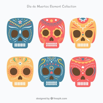 Funny variety of flat mexican skulls
