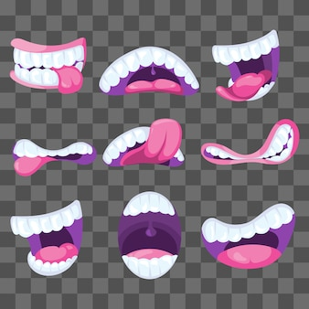 Funny vector comic mouths expressing different emotions isolated
