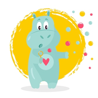Funny vector illustration of a cute hippo with soap bubbles.