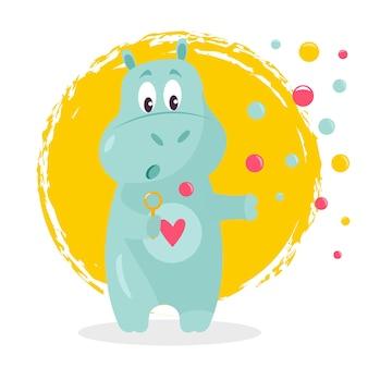 Смешные векторные иллюстрации милый бегемот с мыльными пузырями.
