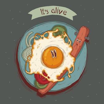 タイトルテキストと生きている目玉焼きとソーセージの面白いベクトルイラストその生きているtシャツのプリント