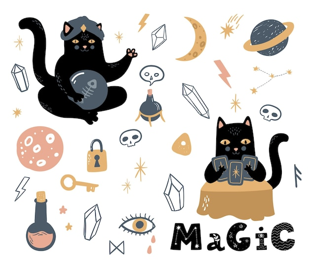 Забавный векторный волшебный набор символов колдовства и оккультизма, череп черной кошки, доска для спиритических сеансов и т. д.