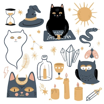 Funny vector magic set. witchcraft and occultism symbols: black cat, ouija board, moon, crystals, stars, candles, ghost, owl, snake, moth, sun. hand drawn illustration, flat and cartoon style.