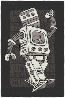 Funny vector robot drawing