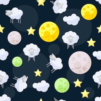 열린 공간의 어두운 덮개에 구름, 별, 밝은 행성, 귀여운 양이 있는 재미있는 벡터 매끄러운 패턴 배경